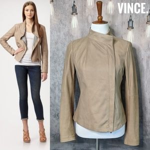 VINCE. Asymmetric Zip leather jacket in Natural